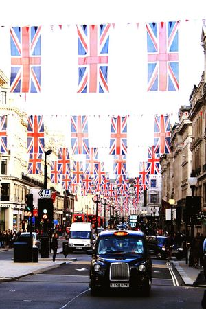 Diamond Jubilee Street Decoration Street Photography Strreet Union Jack Flags Regent Street  London Cab Taxi Black Cab Royal Queen Elizabeth  Queen