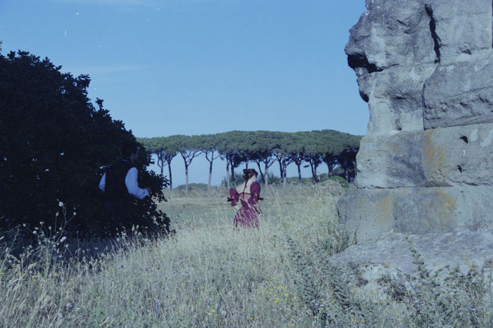 Analogue Photography Field Film Old Dress Tree Wall Woman Film Photography One Person Pine Tree