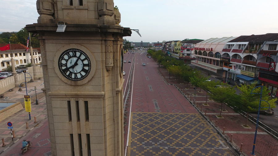 High angle view of clock against sky