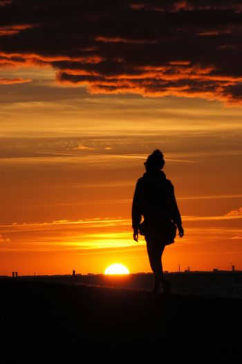Check This Out Silhouette Dusk Sunset Girl Sanddunes Colorful Orange Skåne Sweden Summer Skyline Copenhagen Skyline