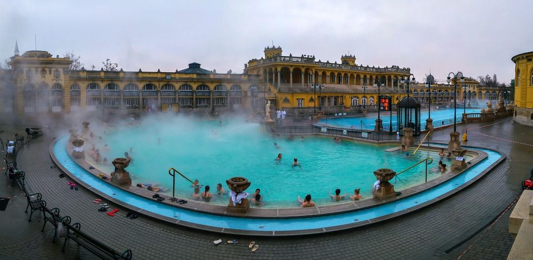 Travel Destinations Architecture Panoramic Photography Outdoors Water Architecture Swimming Pool Hungary Budapest Budapest, Hungary Thermal Bath Thermal Pool Thermal Waters Thermalwaters Széchenyi Baths Szechenyi Bath Szechenyithermalbath Szechenyibaths Budapest - Hungary Panoramashot Panoramic View Panorama View Cold Temperature Winter Panorama