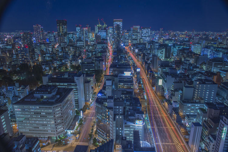 High Angle View Of Illuminated Osaka Prefecture During Night