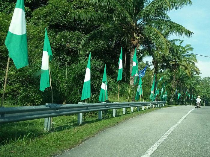 MALAYSIA 14th General Election,2018 campaign Pru Pru14 General Elections Campaign Pas Parti Islam Tree Road Street Sky Treelined Empty Road