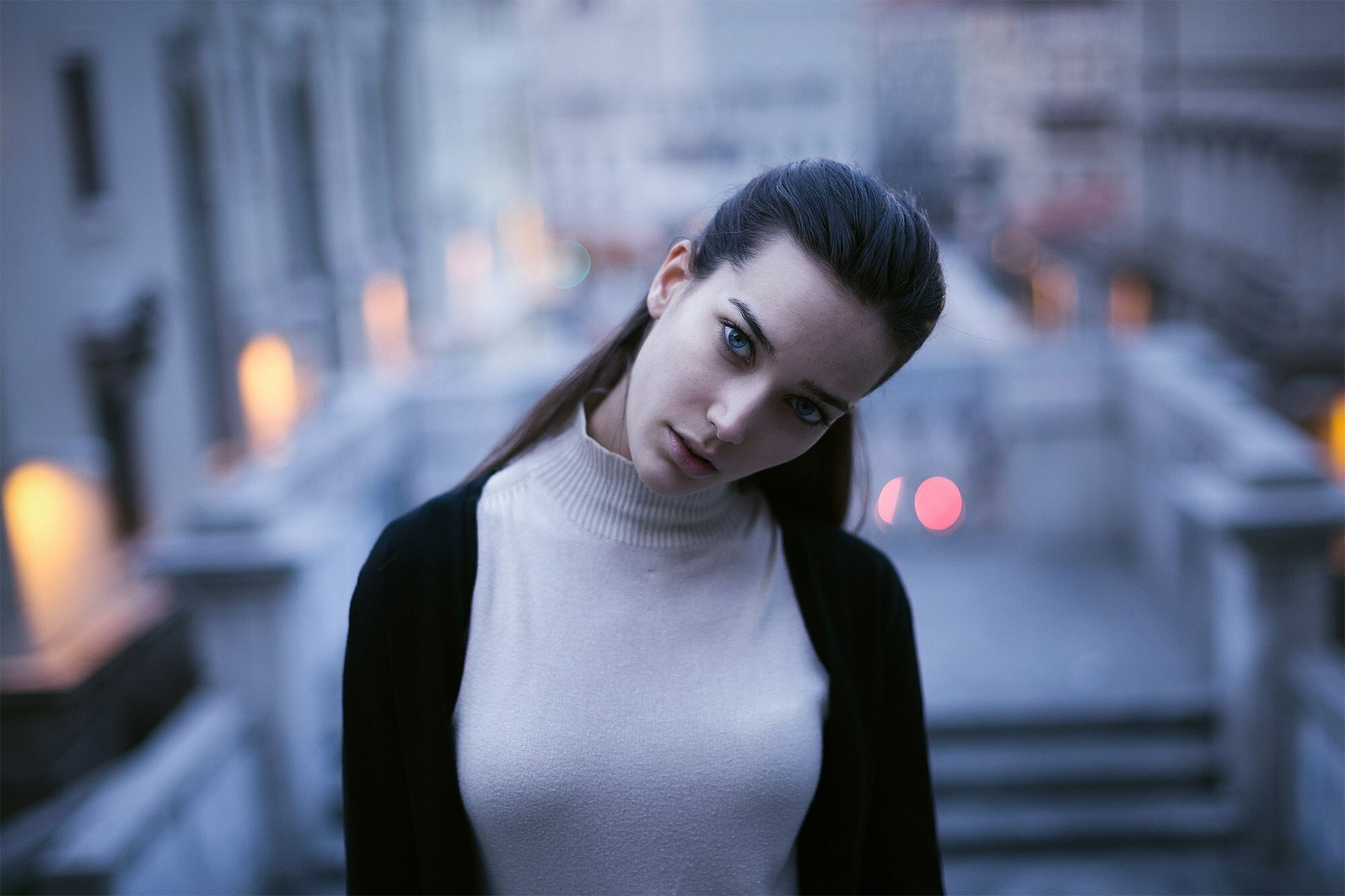 one person, portrait, young adult, adult, focus on foreground, beautiful woman, headshot, women, indoors, architecture, burning, hair, front view, young women, beauty, city, illuminated, waist up, hairstyle, contemplation