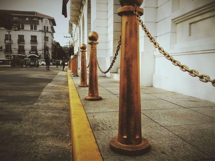 Photooftheday Photowalking Manila Gold Golden Hour Gold Colored Intramuros,manila Panels Chainlink Fence Ayuntamiento
