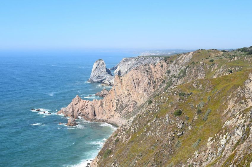 Coastline Cliff Scenics Sea Horizon Over Water Atlantic Ocean Water Clear Sky Nature Outdoors Rocks Sky Marine No People Day Sunlight Portugal View Distance Landscape Perspectives On Nature