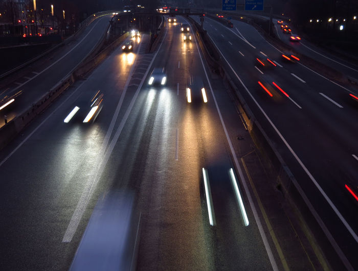 Transportation Road Motion City Road Marking Marking Street Architecture Traffic Long Exposure Speed Mode Of Transportation Light Trail Multiple Lane Highway Highway Blurred Motion Illuminated Essen Ruhrgebiet A40 Autobahn Cars Motor Vehicle City Life City Street