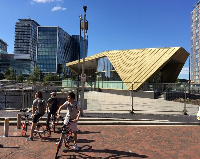 Manchester media city Mobike Bicycle Up Close Street Photography Building Exterior Outdoors Salford Quays beautuful day I Phone 6s Check This Out Building Built Structure Focus On Foreground
