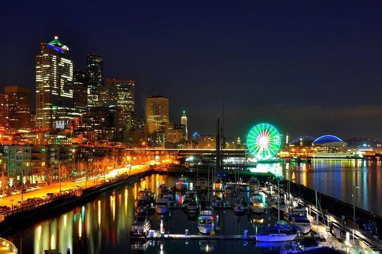 12 12th Man Boats City City Life Cityscape Harbor High Angle View Illuminated Long Exposure Modern Night Seahawks Seattle Seattle Wheel Waterfront