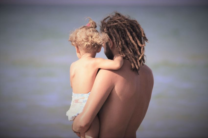 Beauty Children Close-up Dad Day Dreadlocks Focus On Foreground Leisure Activity Lifestyles Long Hair Love Nature Outdoors Parenthood Selective Focus Touching