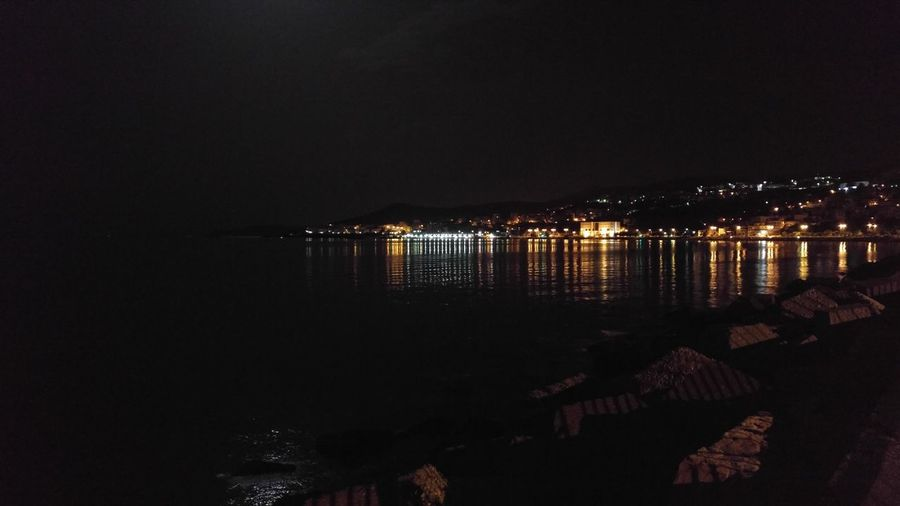 Reflection Illuminated Water No People Night Outdoors Sea Moon Waterfront City Kavala Greece Marine Port Reflection Sky Landscape Light And Reflection Light And Reflection. Light And Reflections