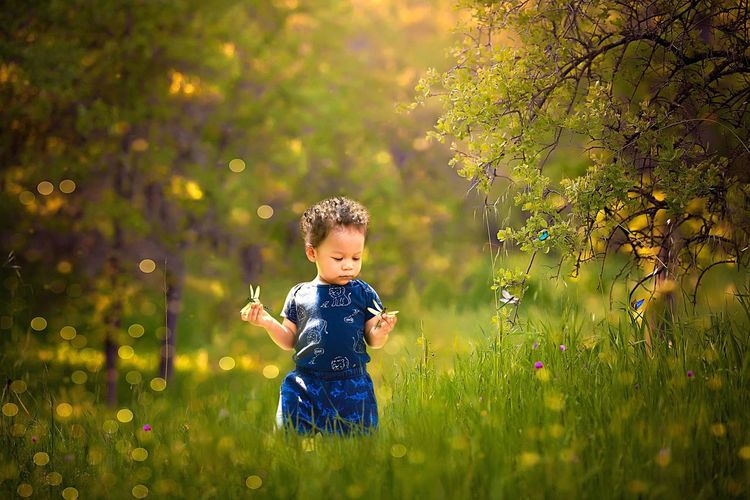Cute baby boy girl standing on field during autumn