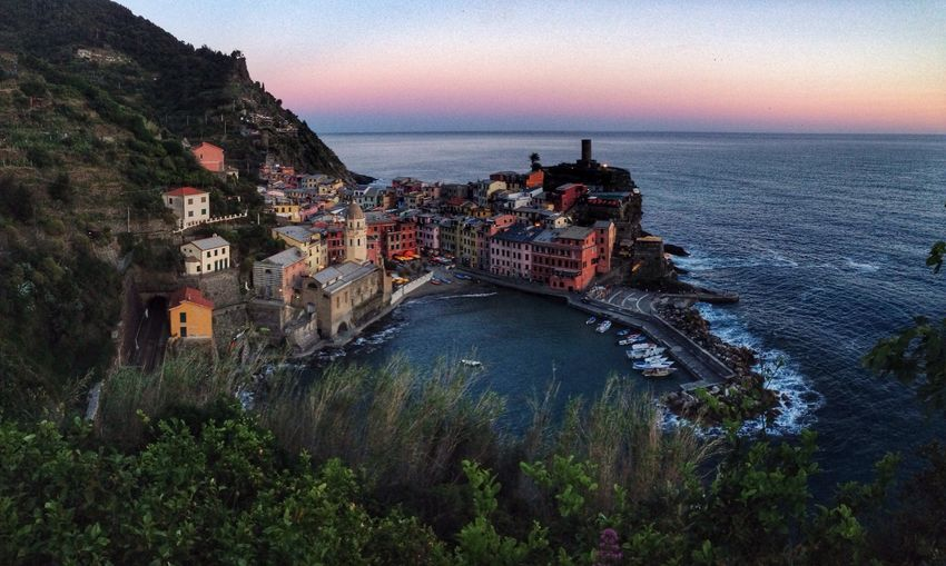 Vernazza at Sunset, Cinque Terre, Italy Vernazza Italy Cinque Terre Sunset Dusk Travel Sea Village Architecture Coast Travel Photography Travel Destinations Travelphotography The Architect - 2016 EyeEm Awards