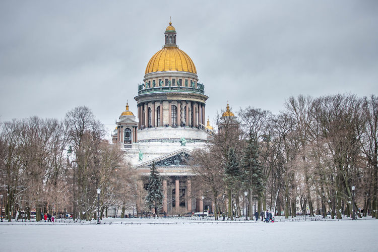 Dome Building Exterior Tree Architecture Built Structure Nature Sky Plant Place Of Worship Day Religion Bare Tree Belief City Spirituality Building Winter Outdoors Government Russia St. Petersburg
