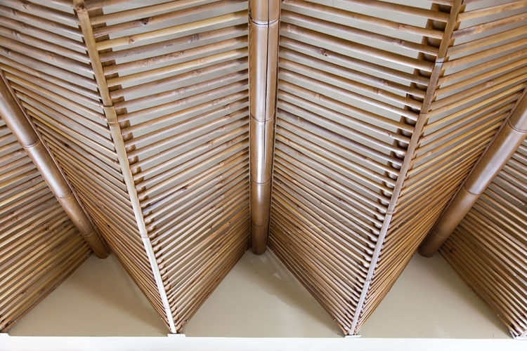 Modern Roof Pattern with bamboo. Pattern Indoors  No People Ceiling Backgrounds Full Frame Architecture Design Built Structure Day Close-up Textured  Wood - Material Architectural Feature Metal Low Angle View Still Life Stack Large Group Of Objects Bamboo Made Craft