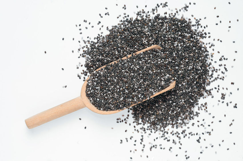 Food, seeds of Salvia hispanica, known as Chia Chia Directly Above Dirty Food Food And Drink Freshness Messy No People Overhead View Ready-to-eat Salvia Hispanica Seed Seeds Snack