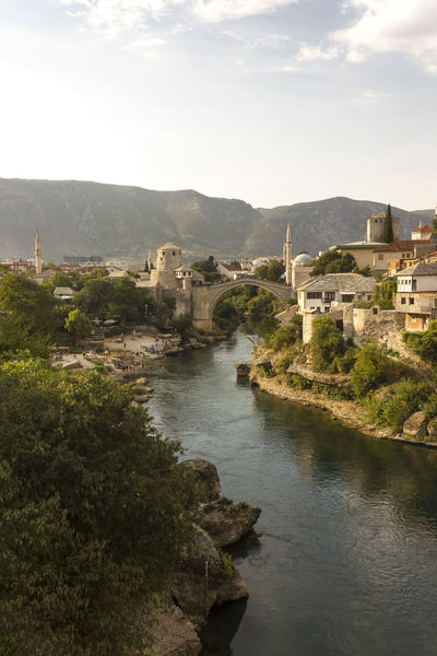 Stari Most bridge in Mostar, Bosnia Herzegovina Bosnia And Herzegovina Mostar Old Bridge Panorama Architecture Bridge Built Structure Day Daylight Landmark Landscape Neretva Old Outdoors Overview River Stari Most Unesco Water