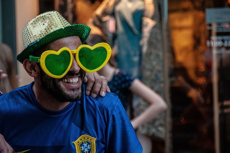 EyeEm Selects Sunglasses Portrait Real People Leisure Activity Emotion Nikolskaya Street Football Fans Multicultural FIFA World Cup Of 2018 Fifa2018 FIFA World Cup Russia Young Men Football Brasil Fan World Cup 2018 The Street Photographer - 2018 EyeEm Awards