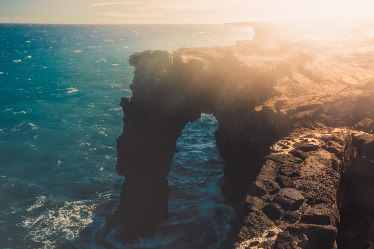 sea, water, rock, solid, rock - object, beauty in nature, scenics - nature, nature, sky, land, beach, tranquility, rock formation, horizon over water, horizon, tranquil scene, outdoors, day, sunlight