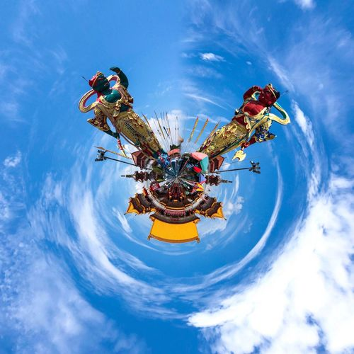 360 Degree 360 Panorama Panorama Colors Sunny Clouds And Sky Temple Temple - Building Statue