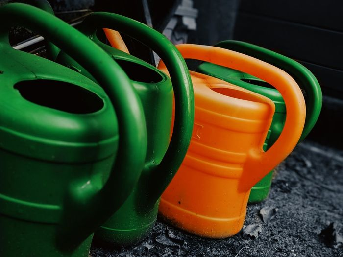 Watering Can Can Water Gardening Garden Garden Photography Orange Color Close-up Green Color Water Pipe Vegetable Garden Homegrown Produce Community Garden Gardening Equipment Planting Calm Watering Tin Pipe - Tube My Best Photo The Mobile Photographer - 2019 EyeEm Awards
