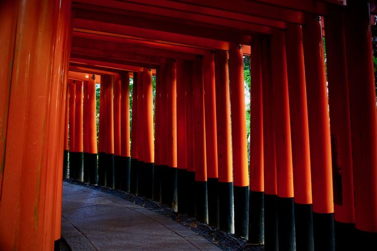 View of colonnade in kyoto at japan