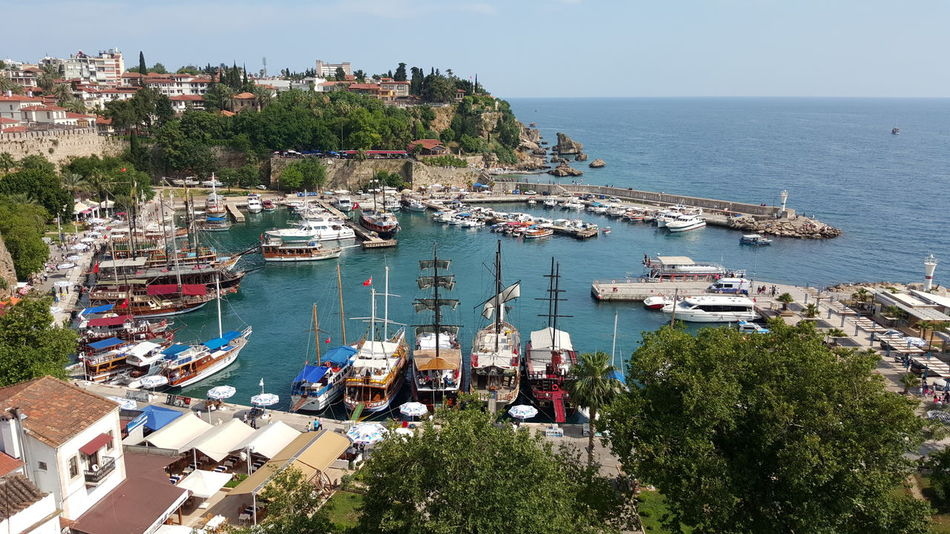 Antalya Turkey Boat Day Harbor House Mode Of Transport Old Harbour Sailboat Sea Sky Transportation Tree Water Adapted To The City