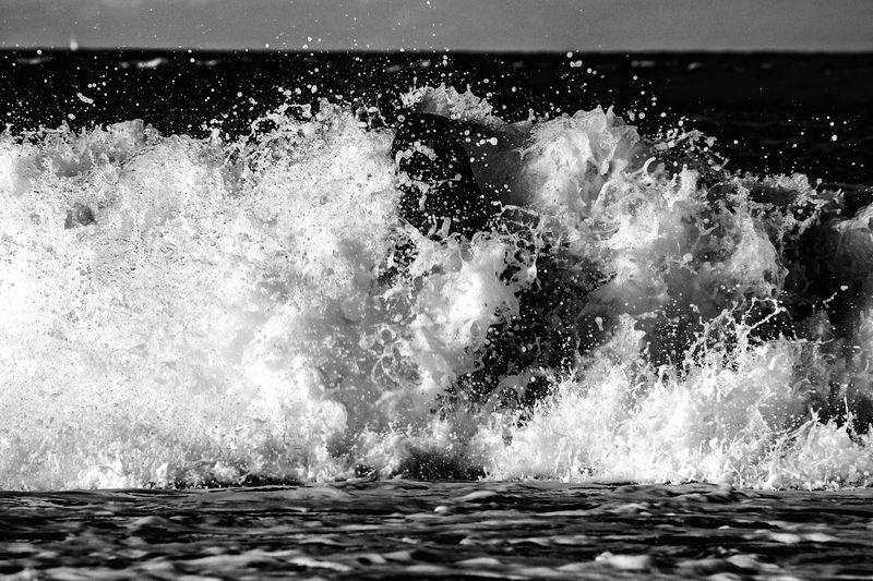 Splashing Wave Water Motion Sea Blackandwhite Black And White Power In Nature Outdoors EyeEm EyeEm Gallery EyeEmBestPics EyeEm Best Shots Photographer Photography Canon Travel Beach Contrast Light And Shadow Crash Sea And Sky Welcome To Black Danger Dark
