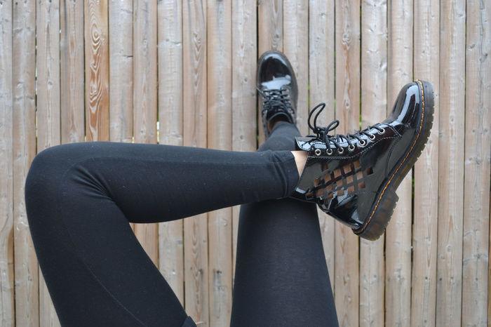 Black Fashion Shoes Leggings Model Legs Feet Patent Wooden Fence Model Pose Laces