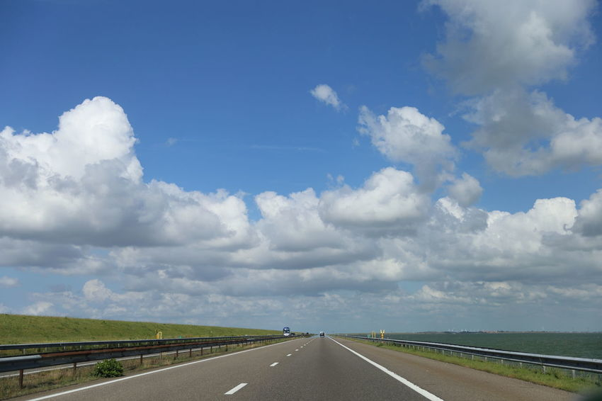 Beauty In Nature Cloud - Sky Day Diminishing Perspective Dividing Line Highway Landscape Nature No People Outdoors Road Road Marking Scenics Sky The Way Forward Tranquil Scene Tranquility Transportation White Line