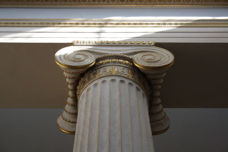 Goldie white Architectural Column Architectural Feature Architecture Atene Building Built Structure Column Design Doric Gold Grecia Greece Low Angle View White
