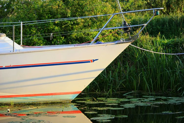 Close-up of boats moored in river