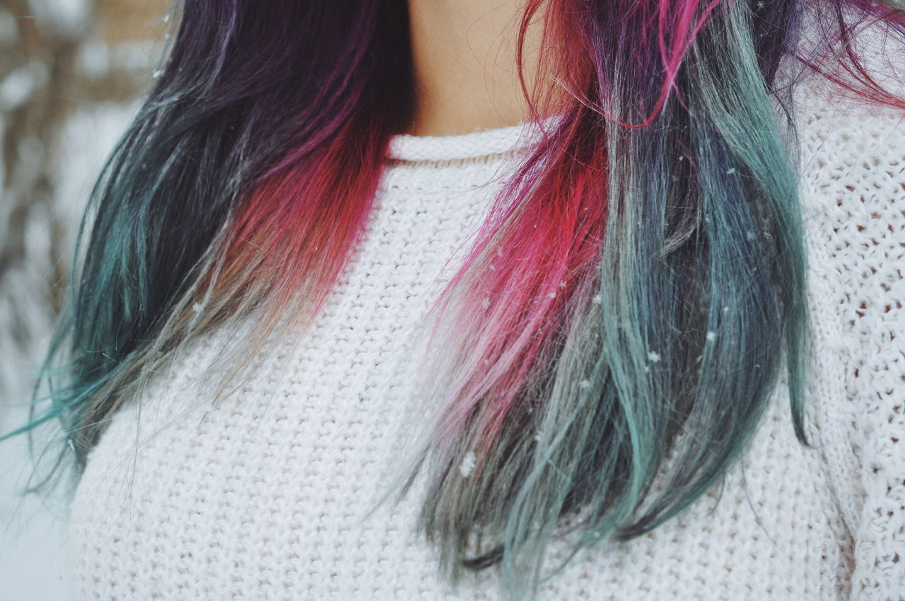 Close-Up Of Woman With Dyed Hair