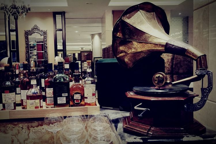 Vintage No People Indoors  Liquor Golden Days Gramophone Music With Love Whisky
