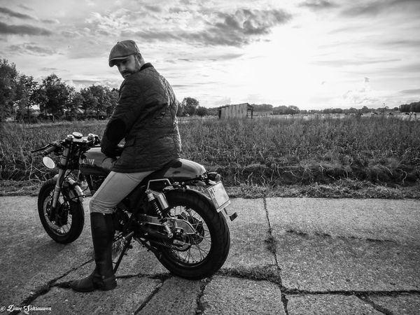 One Man Only One Person Outdoors Me Portrait Distinguished Gentlemens Ride DGR2017 Motorcycle Transportation Black & White Mode Of Transport JustMe Thats Me  Biker