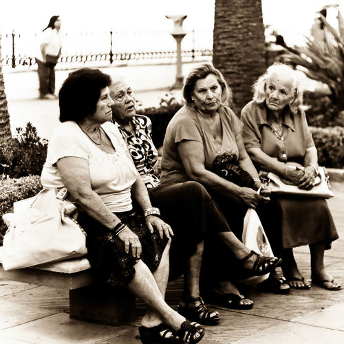 4 Old Ladies Elderly Ladies Ladies Chatting Nerja Old Ladies On Bench People Watching Sepia Sitting On Bench SPAIN Street Photography Watching World Go By Woman Judging