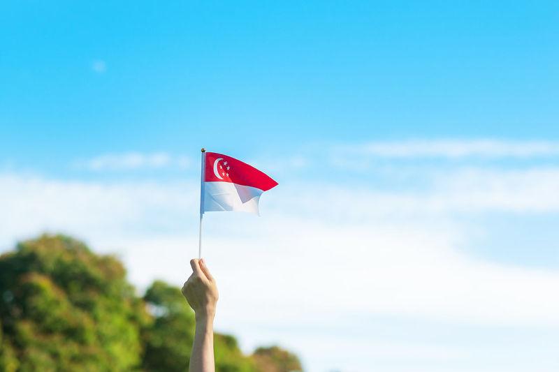 Red flag against blue sky