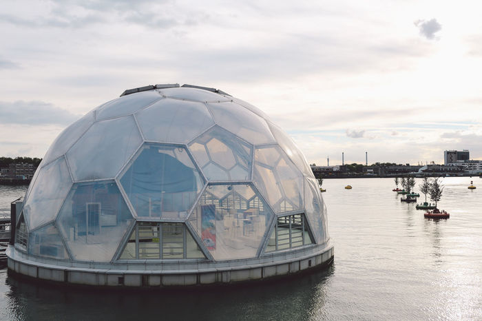 Floating Pavilion Cloud - Sky Day Dome Floating On Water No People Outdoors Pavilion Radar Sky Travel