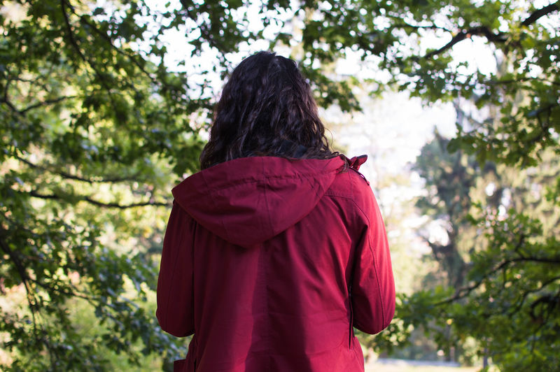 Prague, Czech Republic, 09/2016 Cape  Curly Hair Day Long Hair One Person One Woman Only Outdoors Person Rear View Red Tree Waist Up