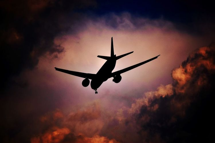 Transportation Airplane Flying Mode Of Transport Travel Sky Commercial Airplane Flight Journey Cloud Outdoors Aviation B777 Boeing777 Boeing Aerospace Industry Airport Aircraft Aeroplane Transportation Travel Silhouette Cloud Cloudy The Week On EyeEm