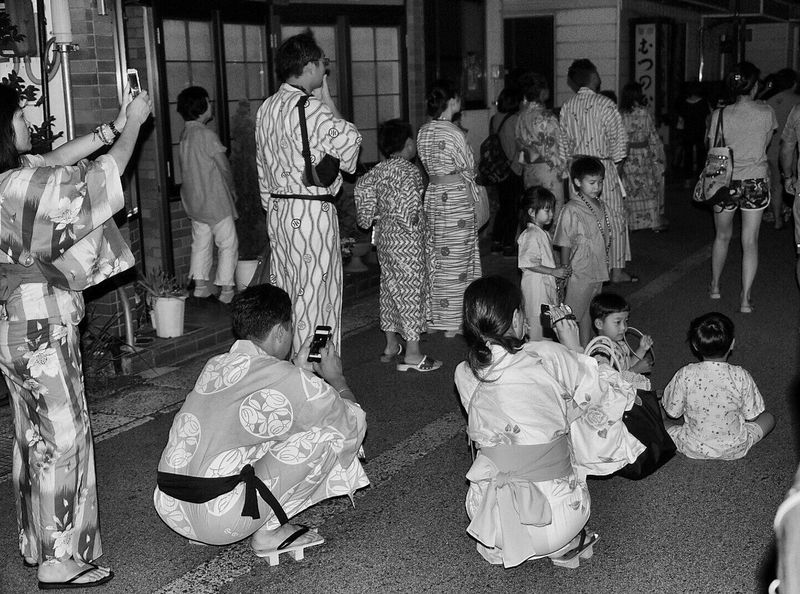 Version 2 Large Group Of People Kinosaki Japan Night Blackandwhite Watching Fireworks Real People