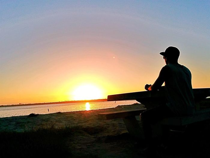 Missionbeach Feelfree San Diego Photographer Sharethetravel Sunset Sitting Nature Silhouette Beauty In Nature Sky Scenics Relaxation Clear Sky Beach