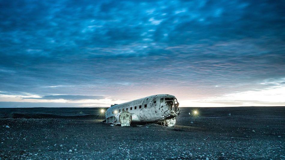 Winter Transportation Nature Iceland plane crash dc-3 Sky Outdoors No People Beauty In Nature Sea Landscape Crash night EyeEmNewHere