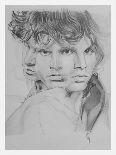 Check This Out Art Enjoying Life Black And White Portrait jim morrison pencil sketch