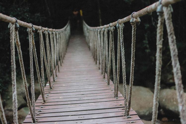 Wooden bridge in winter