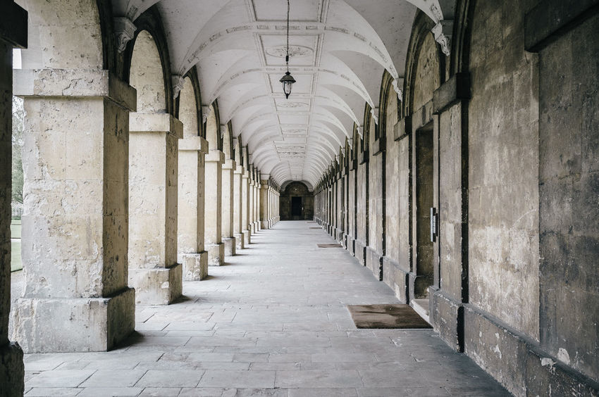 EyeEm Best Shots EyeEm Gallery Arcade Arch Architectural Column Architecture Building Built Structure Ceiling Colonnade Corridor Day Diminishing Perspective Direction Eye4photography  History In A Row Indoors  Lighting Equipment Long No People Shootermag The Past The Way Forward vanishing point