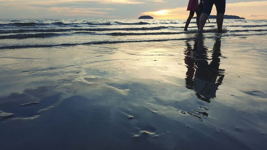 Walking Along The Beach Sunset Tanjung Aru Sea Waves