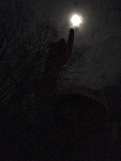Moon Lover One Person Human Hand Outdoors Night Moon Nightlife Night View Silhouette Bright Night Clouds And Sky Clouds And Moon
