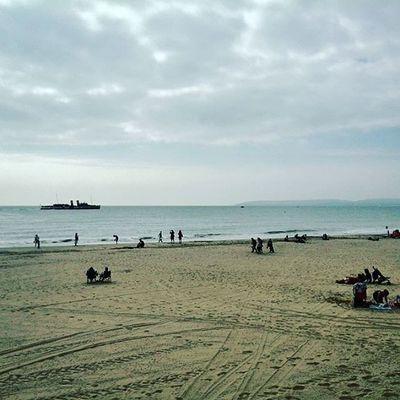 Bournemouth Beach Sand People Ship Steamship