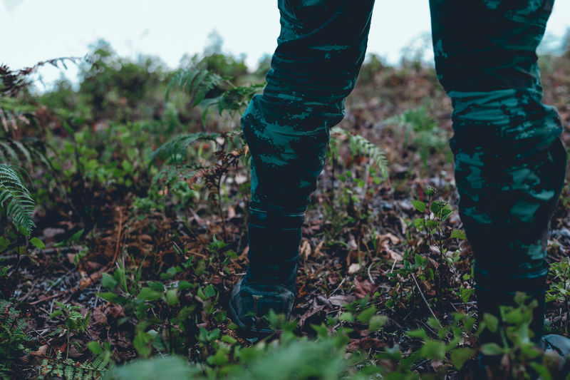 Body Part Day Field Forest Green Color Growth Human Body Part Human Foot Human Leg Human Limb Jeans Land Low Section Nature One Person Outdoors Plant Real People Selective Focus Shoe Standing Tree